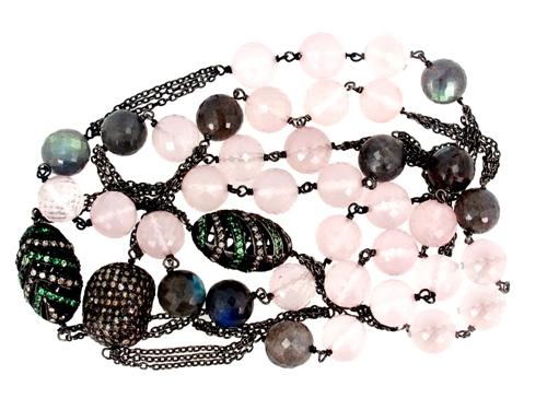 Diamond Gemstone Beaded Necklace Jewelry