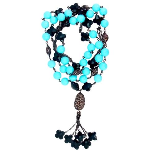 Turquoise Onyx Gemstone Pave Ball Necklace
