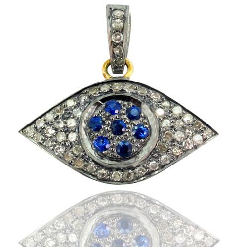 Evil Eye Pave Diamond Gemstone Pendant