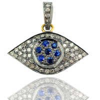 Evil Eye Pave Diamond Gemstone Pendant