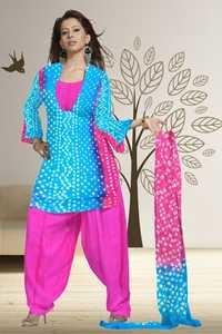 Dyed crape salwar with tie and dye bandhani pastel