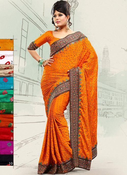 Sunset Orange Bandhani Saree