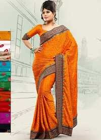 Sunset Orange Bandhani Saree