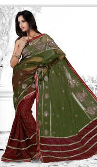 Red Olive Green Bandhani Georgette Festival Saree