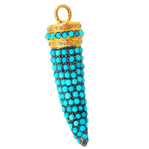 14k Gold Diamond Turquoise Tooth Pendant