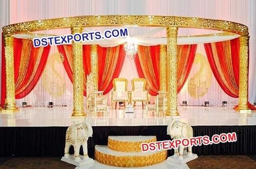 Wedding Six Pillar Golden Jali Mandap