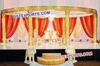Wedding Six Pillar Golden Jali Mandap