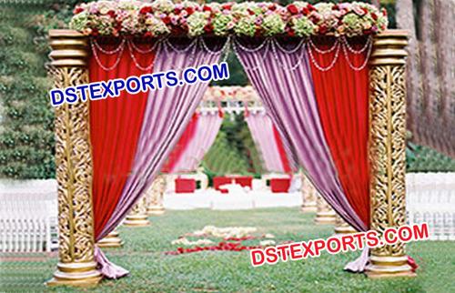 Wedding Golden Pillar Welcome Gate