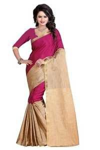 Designer Pink & Beige Silk Lovely Saree