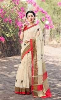 Beige Designer Poly Cotton Casual Wear Saree