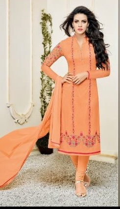 Orange Georgette Embroidered Suit