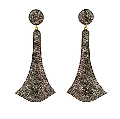 Pave Diamond Gold Silver Dangle Earrings