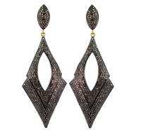Pave Diamond Sterling Silver Dangle Earrings