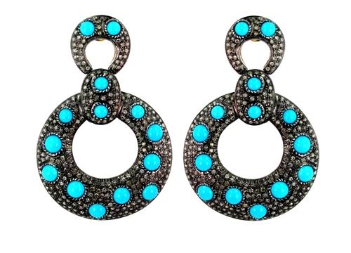 14k Gold Diamond Gemstone Vintage Drop Earring
