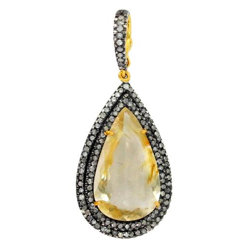 Pave Diamond Gemstone Pendant Jewelry