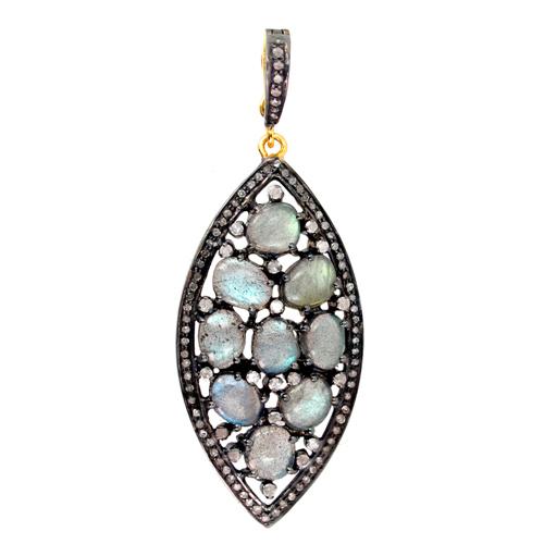 Gold Diamond Labradorite Gemstone Pendant
