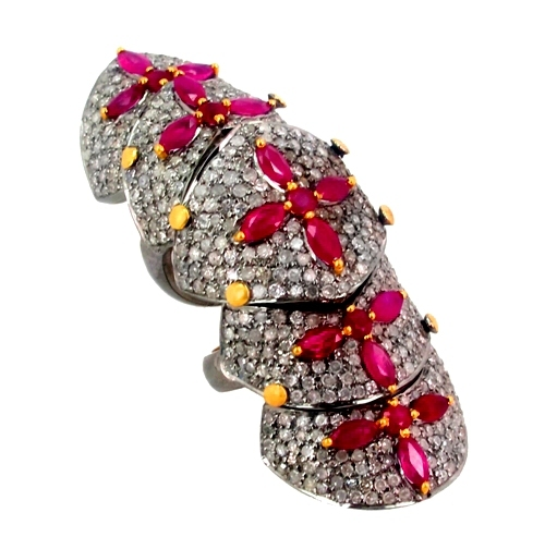 Pave Diamond Ruby Knuckle Ring