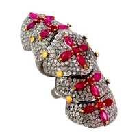 铺金刚石红宝石指关节圆环