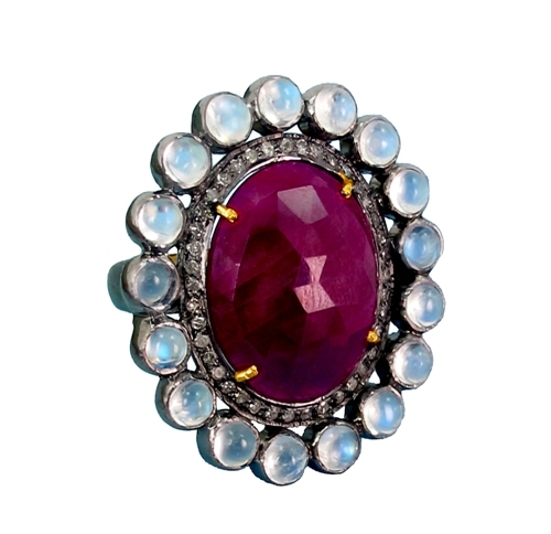 Precious Ruby Gemstone Gold Ring