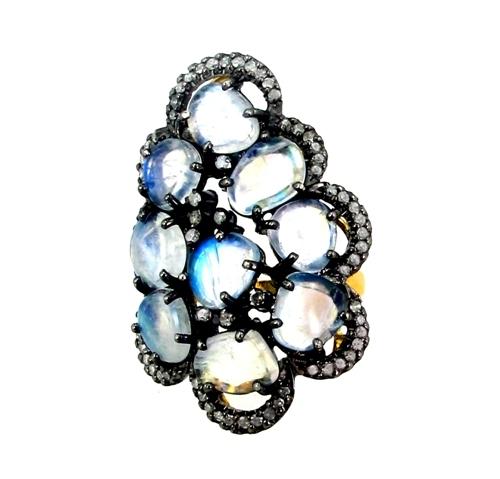 Rainbow Moonstone Diamond Silver Ring