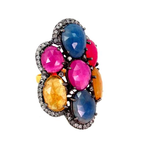 14k Gold Multi Sapphire Gemstone Fashion Ring