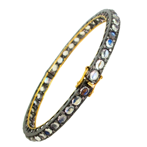 Rainbow Moon Stone Silver Gold Gemstone Bangle