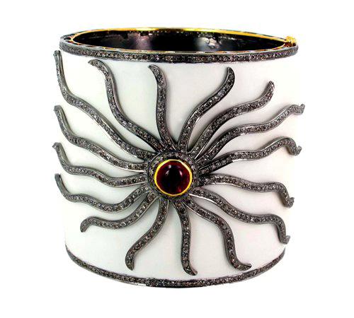Fashionable Enamel Pave Diamond Cuff Bangle