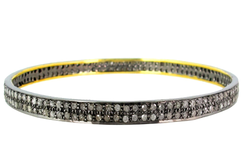 14k Gold Pave Diamond Cuff Bangle