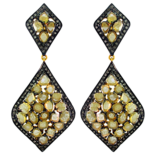Sterling Silver Slice Ice Diamond Pave Earrings