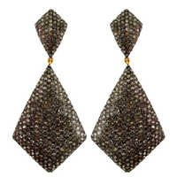 Pave Diamond Silver Dangle Earrings