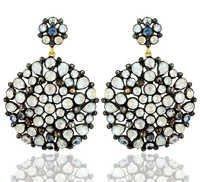 Diamond Silver Moonstone Earrings
