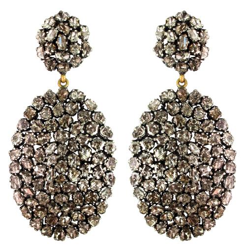 Gold Slice Diamond Wedding Dangle Earrings