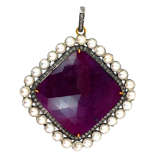 Gemstone Pearl Ruby Diamond Gold Pendant