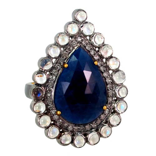 Blue Sapphire Gemstone Diamond Ring