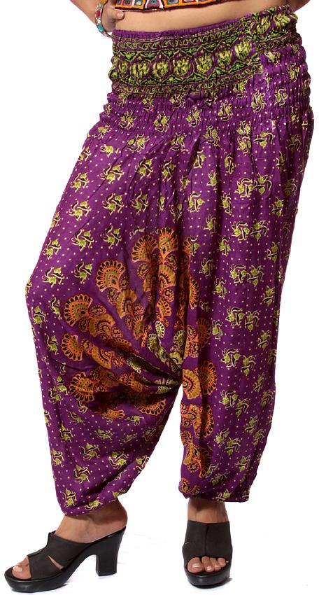printed purple harem trousers