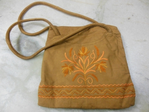 suede leather with ari embroidery work of kashmir