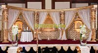 LATEST MUSLIM WEDDING GOLD CRYSTAL STAGE SET