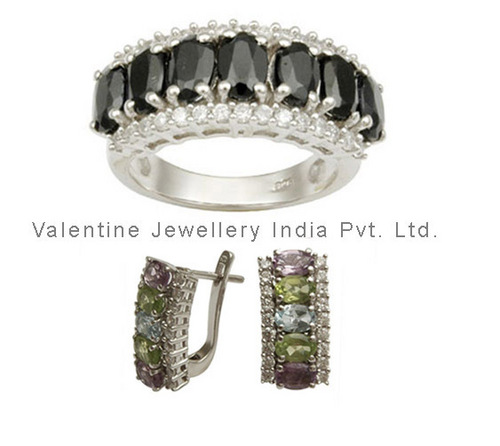 silver gemstone jewelry set for women at wholesale