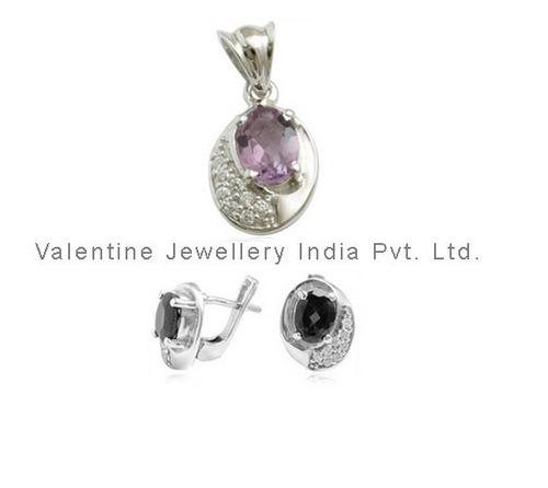 designer pendant and earring gemstone jewellery set