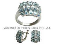 indian jewellery set in silver with blue topaz in fine quality