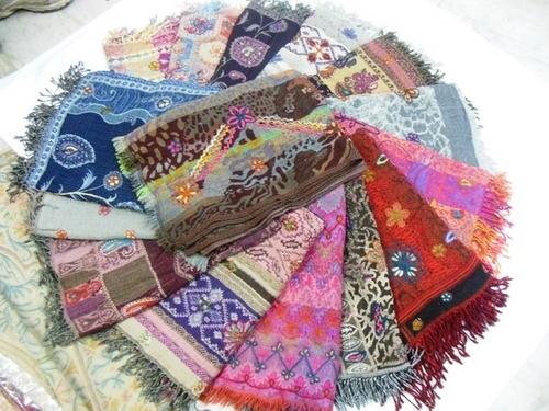 boiled woollen stoles embroidery
