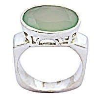 Celeb Style Blue Chalcedony Gemstone Silver Ring