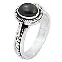 Unique Black Pearl Gemstone Silver Ring