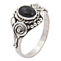 Black Onyx Indian Designer Gemstone Silver Ring