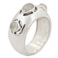 Three Stone Newest Rainbow Gemstone Silver Ring