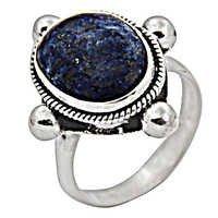 Indian Large Lapis Gemstone Silver Jewellery Ring