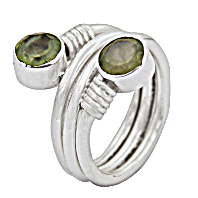 New Bypass Prenite Gemstone Silver Ring