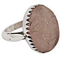 Romantic Rose Quartz Gemstone Silver Ring