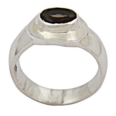 Elegant Smokey Quartz Gemstone Silver Ring