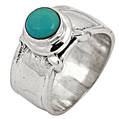 Costume Turquoise Gemstone Silver Jewellery Ring